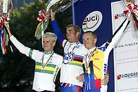 Sykkel <br /> VM 2003 Hamilton - Canada<br /> Foto: Digitalsport<br /> Norway Only<br /> <br /> CYCLING - WORLD CHAMPIONSHIPS 2003 - HAMILTON (CAN) - 09/10/2003 - PHOTO: NICO VEREECKEN <br /> MEN ELITES INDIVIDUAL TIME TRIAL - MICHAEL ROGERS (AUS) / 2ND - DAVID MILLAR (GBR) / WINNER - UWE PESCHEL (GER) / 3RD