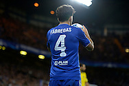 Cesc Fabregas of Chelsea taking a throw in. UEFA Champions League group G match, Chelsea v Maccabi Tel Aviv at Stamford Bridge in London on Wednesday 16th September 2015.<br /> pic by John Patrick Fletcher, Andrew Orchard sports photography.