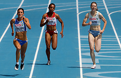 Giulia Arcioni of Italy, Meliz Redif of Turkey and Tina Jures of Slovenia compete in the Womens 200m Heat during day four of the 20th European Athletics Championships at the Olympic Stadium on July 30, 2010 in Barcelona, Spain. (Photo by Vid Ponikvar / Sportida)