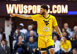 Feb 2, 2019; Morgantown, WV, USA; West Virginia Mountaineers forward Esa Ahmad (23) celebrates after a score during the second half against the Oklahoma Sooners at WVU Coliseum. Mandatory Credit: Ben Queen-USA TODAY Sports