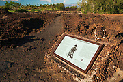 Interrpetive sign at the Kings Trail and petroglyphs at Waikoloa, Kohala Coast, The Big Island, Hawaii USA