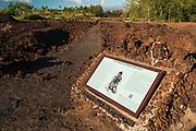 Interrpetive sign at the Kings Trail and petroglyphs at Waikoloa, Kohala Coast, The Big Island, Hawaii USA