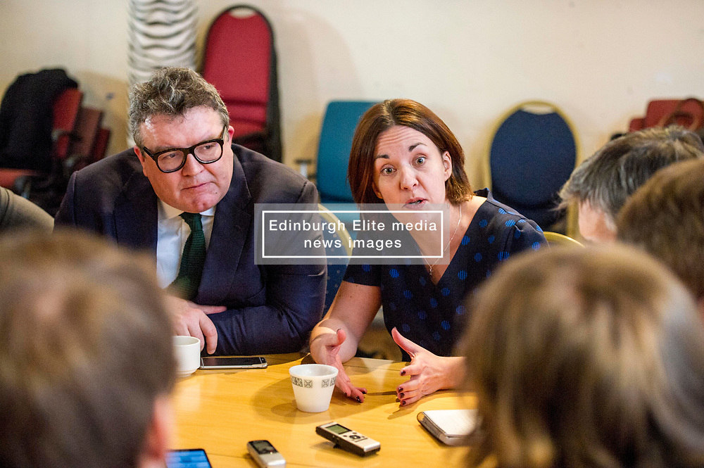Pictured: Kezia Dugdale and Tom Watson.<br /> Scottish Labour leader Kezia Dugdale, MSP,  and Tom Watson, MP deputy leader of the Labour Party, visited Edinburgh's Serenity cafe today to meet and encourage Labour candidates ffor the upcoming local elections;<br /> Ger Harley   EEm 27 March 2017