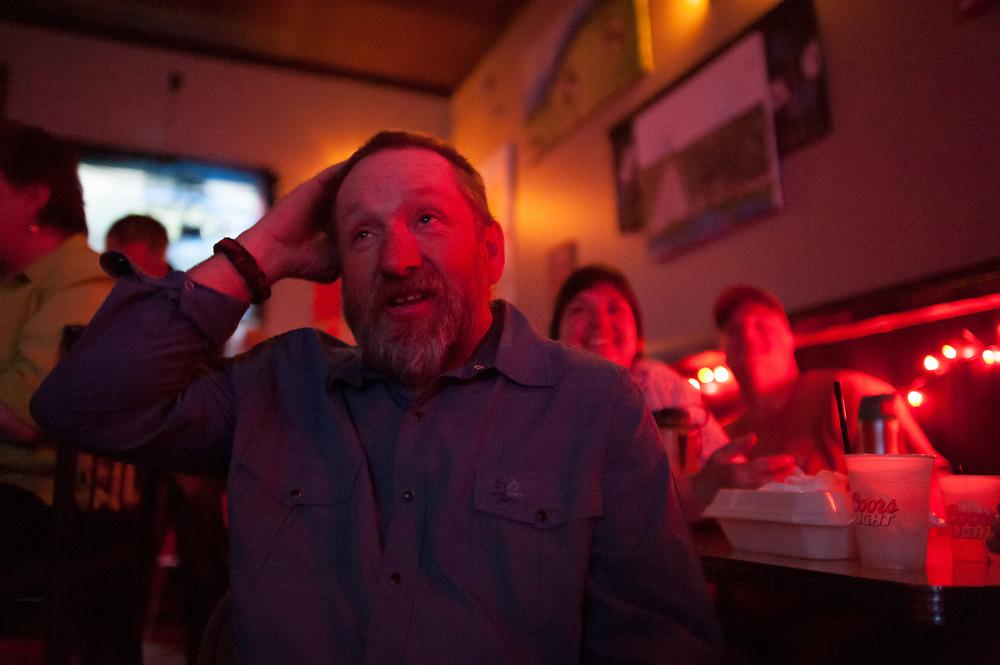 Chuck Allen watching the premier of Dead End Express.