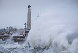 © Licensed to London News Pictures. 21/10/2017. Southsea, UK.  Large waves crashing against the promenade in Southsea today, 21st October 2017.  Storm Brian has brought strong winds and large waves to the UK coast. Photo credit: Rob Arnold/LNP
