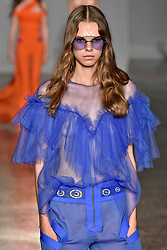 Model walks on the runway during the Genny Fashion Show during Milan Fashion Week Spring Summer 2018 held in Milan, Italy on September 21, 2017. (Photo by Jonas Gustavsson/Sipa USA)