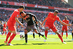 7th May 2017 - Premier League - Liverpool v Southampton - Sofiane Boufal of Southampton battles with Dejan Lovren of Liverpool (L) and Joel Matip of Liverpool - Photo: Simon Stacpoole / Offside.