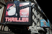 Jamie as well as Michael Jackson are seen on a billboard promoting the musical Thriller featuring the songs of '70s American family group the Jackson Five at the Lyric Theatre on Shaftesbury Avenue in the heart of London's West End district, on 12th March 2020, in London, England.
