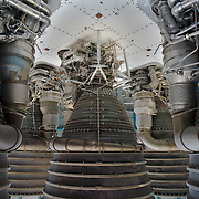 Saturn V first stage F-1 Engines, the engines which sent the Apollo Astronauts to the Moon. Kennedy Space Center.