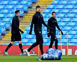 Adrien Rabiot, Zlatan Ibrahimovic and Angel di Maria of PSG train - Mandatory byline: Matt McNulty/JMP - 07966386802 - 11/04/2016 - FOOTBALL - Manchester City v PSG - Etihad Stadium -Manchester,England - UEFA Champions League