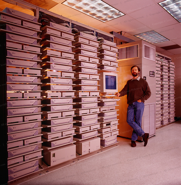 Founder and Chief Technical Officer Ed Catmull at Pixar Studio.  Steve Jobs, founder of Apple Computer bought animation company Pixar off George Lukas in 1986 and turned it into a Academy-Award-winning studio.