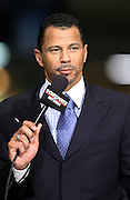 Former Pittsburgh Steelers defensive back and current day football analyst Rod Woodson talks football on the set of CBS Sports television on radio row at the NFL Super Bowl XLVII Media Center in the Ernest N. Morial Convention Center on Thursday, Jan. 31, 2013 in New Orleans. ©Paul Anthony Spinelli