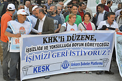April 29, 2017 - Ankara, Turkey - Members and supporters of the Confederation of Public Employees Trade Unions (KESK) gathered to protest against dismissals by an emergency decree during emergency state on April 29, 2017, two days before International Workers' Day, in Ankara, Turkey. (Credit Image: © Altan Gocher/Pacific Press via ZUMA Wire)
