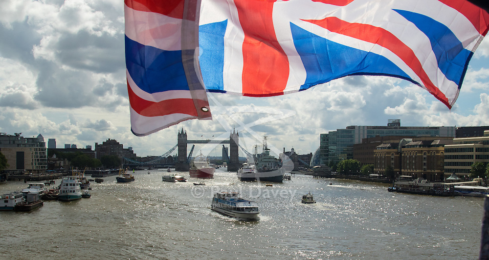 London Bridge, London, June 15th 2016. A flotilla of fishing boats led by UKIP's Nigel Farage heads through Tower Bridge in protest against the EU's Common Fisheries Policy and in support of Britain leaving the EU.