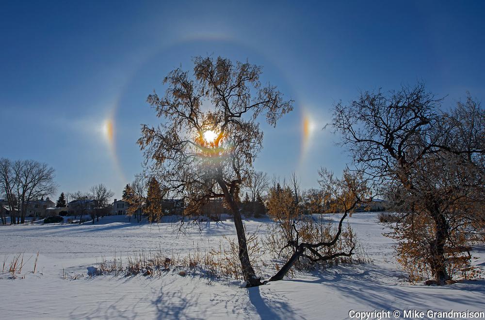 Sundogs and halos in Winnipeg's Southdale neighbourhood<br />Winnipeg<br />Manitoba<br />Canada