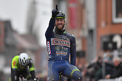 March 1, 2017 - Dour, BELGIUM - Belgian Guillaume Van Keirsbulck of Wanty-Groupe Gobert celebrates as he crosses the finish line to win the 49th edition of the Grand Prix du Samyn cycling race, Wednesday 01 March 2017. The race starts in Quaregnon and ends in Dour (202,6km). The Grand Prix du Samyn is also the first round of the Napoleon Games Cup...BELGA PHOTO DAVID STOCKMAN (Credit Image: © David Stockman/Belga via ZUMA Press)