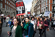 Demonstration goes on the move as protesters gather against David Cameron's links to offshore finances on April 9th, 2016 in London, United Kingdom. Thousands of protesters gathered calling for the Prime Minister to resign and to protest over his recently revealed tax dealings in the Panama Papers.