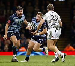Cardiff Blues' Aled Summerhill under pressure from Ospreys' Ashley Beck<br /> <br /> Photographer Simon King/Replay Images<br /> <br /> Guinness PRO14 Round 21 - Cardiff Blues v Ospreys - Saturday 28th April 2018 - Principality Stadium - Cardiff<br /> <br /> World Copyright © Replay Images . All rights reserved. info@replayimages.co.uk - http://replayimages.co.uk