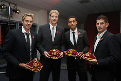 CARDIFF, WALES - Wednesday, November 11, 2009: Wales' David Edwards, goalkeeper Wayne Hennessey, Lewin Nyatanga and Ched Evans receive their international caps during the Football Association of Wales Player of the Year Awards hosted by Brains SA at the Cardiff City Stadium. (Pic by David Rawcliffe/Propaganda)