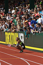Sanya Richards-Ross, Women's 400 meters, champion, Olympian, squats on track during victory lap