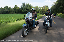 David Lloyd riding his 1919 Harley-Davidson during Stage 5 of the Motorcycle Cannonball Cross-Country Endurance Run, which on this day ran from Clarksville, TN to Cape Girardeau, MO., USA. Tuesday, September 9, 2014.  Photography ©2014 Michael Lichter.
