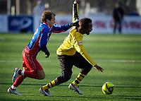 Fotball, Adecco-ligaen, 23.04.06, Tromsdalen - Moss<br /> Espen Minde (Tromsdalen) og Amin Askar (Moss)<br /> Foto: Tom Benjaminsen, Digitalsport