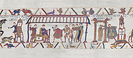 Bayeux Tapestry scene 15:  Dule William of Normandy hold discussions with Harold and, right, Williams daughter Aelgyve is detroved to him. BYX15 .<br /> <br /> If you prefer you can also buy from our ALAMY PHOTO LIBRARY  Collection visit : https://www.alamy.com/portfolio/paul-williams-funkystock/bayeux-tapestry-medieval-art.html  if you know the scene number you want enter BXY followed bt the scene no into the SEARCH WITHIN GALLERY box  i.e BYX 22 for scene 22)<br /> <br />  Visit our MEDIEVAL ART PHOTO COLLECTIONS for more   photos  to download or buy as prints https://funkystock.photoshelter.com/gallery-collection/Medieval-Middle-Ages-Art-Artefacts-Antiquities-Pictures-Images-of/C0000YpKXiAHnG2k