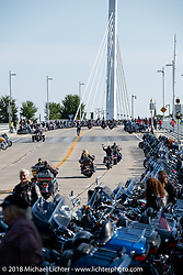 Streets and bridges were packed near the Harley-Davidson Museum, where the multi-acre campus acted as the central rally point during the Harley-Davidson 115th Anniversary Celebration event. Milwaukee, WI. USA. Thursday August 30, 2018. Photography ©2018 Michael Lichter.