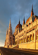 Hungarian Parliament Building on the banks of the Danube, Budapest, Hungary. Built 1885 to 1904 in the Gothic Revival style. Architect: Imre Steindl