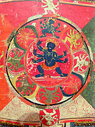 Scroll Painting (Thangka) with Four Mandalas 1400-1500.  Each of these four mandalas, or ritual diagrams, represents a sacred space.
