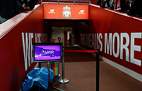 Football - 2019 / 2020 Premier League - Liverpool vs. Everton<br /> <br /> The VAR monitor set inside the tunnel, at Anfield.<br /> <br /> COLORSPORT/ALAN MARTIN