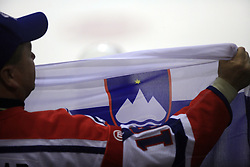 Slovenian fand with a flag at ice-hockey match USA vs Slovenia at Preliminary Round (group B) of IIHF WC 2008 in Halifax, on May 04, 2008 in Metro Center, Halifax, Nova Scotia, Canada. (Photo by Vid Ponikvar / Sportal Images)