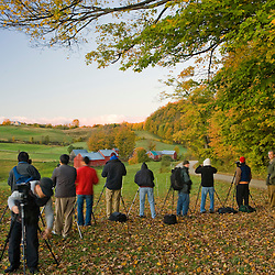 Photographers line up to shoot the Jenne Farm in Woodstock, Vermont.  Fall.