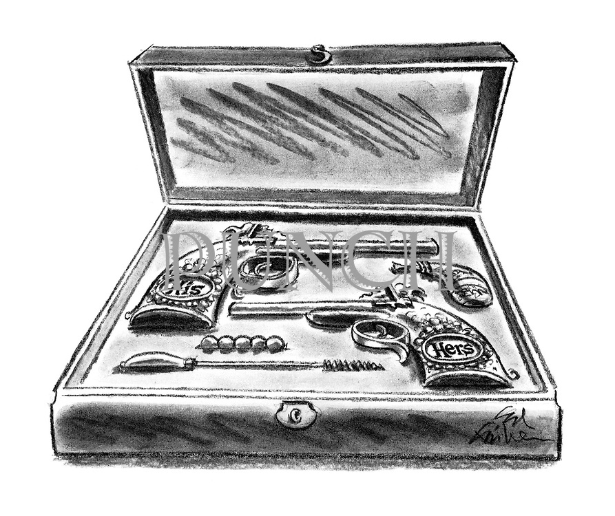 (Matching His and Hers old-fashioned single-shot pistols in a case)