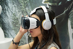 Visitor using Samsung Gear VR virtual reality headset launched at the IFA Berlin 2014