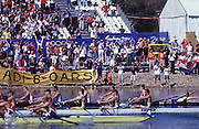 Sydney, AUSTRALIA. GBR M8+,cross the line to win the the Olympics Gold medal,  at  the Olympic Regatta, Penrith Lakes. NSW. Credit [Peter Spurrier/Intersport Images] .... 2000 Olympic Regatta Sydney International Regatta Centre (SIRC) 2000 Olympic Rowing Regatta00085138.tif