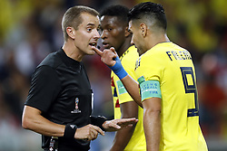 (l-r) referee Mark Geiger, Radamel Falcao Garcia of Colombia during the 2018 FIFA World Cup Russia round of 16 match between Columbia and England at the Spartak stadium  on July 03, 2018 in Moscow, Russia