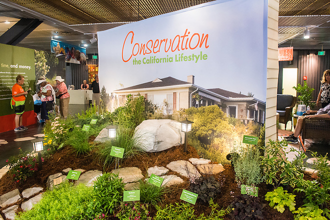 """The California Department of Water Resources exhibit titled """"Conservation - The California Lifestyle"""" showcases water-wise landscaping ideas in the California Building Exhibits at the California State Fair in Sacramento, Calif. on July 8, 2016."""