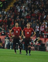 October 6, 2017 - EskiÅŸEhir, Türkiye - Mehmet Topal and Oguzhan Ozyakup of Turkey during FIFA World Cup European Qualifying match between Turkey vs. Iceland at Eskisehir, Turkey, October 6th, 2017. (Credit Image: © Abdurrrahman Antakyali/Depo Photos via ZUMA Wire)