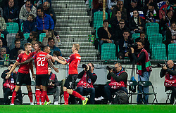 Players of Austria celebrate after scoring first goal during the 2020 UEFA European Championships group G qualifying match between Slovenia and Austria at SRC Stozice on October 13, 2019 in Ljubljana, Slovenia. Photo by Vid Ponikvar / Sportida