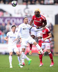 Adama Traore of Middlesbrough wins a high ball from Martin Olsson of Swansea City - Mandatory by-line: Alex James/JMP - 02/04/2017 - FOOTBALL - Liberty Stadium - Swansea, England - Swansea City v Middlesbrough - Premier League