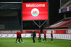 LEUVEN, BELGIUM - Wednesday, March 24, 2021: Wales players on the pitch before the FIFA World Cup Qatar 2022 European Qualifying Group E game between Belgium and Wales at the King Power Den dreef Stadium. Belgium won 3-1. (Pic by Vincent Van Doornick/Isosport/Propaganda)