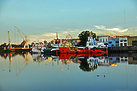 Boats in Riachuelo Shipyard in picturesque neighborhood of La Boca, in Buenos Aires, Argentina.