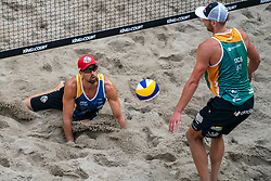 Adrian Gavira ESP in action during the third day of the beach volleyball event King of the Court at Jaarbeursplein on September 11, 2020 in Utrecht.