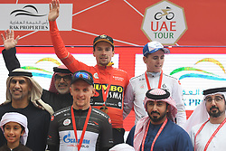 March 1, 2019 - Jebel Jais, United Arab Emirates - Primoz Roglic of Slovenia and Team Jumbo - Visma in the Red Leader Jersey, Stepan Kurianov of Russia and Team Gazprom-Rusvelo in the The Black Intermediate Sprint Jersey, and David Gaudu of France and Team Groupama-FDJ in the White Jersey of Best Young Rider, pose for a photo, at the end of the sixth Rak Properties Stage of UAE Tour 2019, ahead of Tom Dumoulin (Sunweb Team), a 180km with a start from Ajman and finish in Jebel Jais. .On Friday, March 1, 2019, in Jebel Jais, Ras Al Khaimah Emirate, United Arab Emirates. (Credit Image: © Artur Widak/NurPhoto via ZUMA Press)