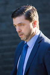 Downing Street, London, March 31st 2016. Work and Pensions - and former Welsh - Secretary Stephen Crabb arrives in Downing Street for an emergency meeting of senior government officials to discuss strategies aimed at saving the British steel industry following Tata Steel's decision to close the loss-making Port Talbot steel plant at Downing Street, London. ©Paul Davey<br /> FOR LICENCING CONTACT: Paul Davey +44 (0) 7966 016 296 paul@pauldaveycreative.co.uk