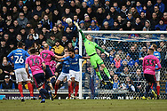 Portsmouth Goalkeeper, Craig MacGillivray (15) comes for a cross during the The FA Cup fourth round match between Portsmouth and Queens Park Rangers at Fratton Park, Portsmouth, England on 26 January 2019.