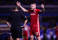 Aaron Gunnarsson of Cardiff City shows his frustration and argues with the referee .EFL Skybet championship match, Birmingham city v Cardiff city at St.Andrew's stadium in Birmingham, the Midlands on Friday 13th October 2017.<br /> pic by Bradley Collyer, Andrew Orchard sports photography.