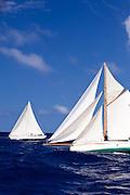 Thalia sailing in the Cannon Race at the Antigua Classic Yacht Regatta.