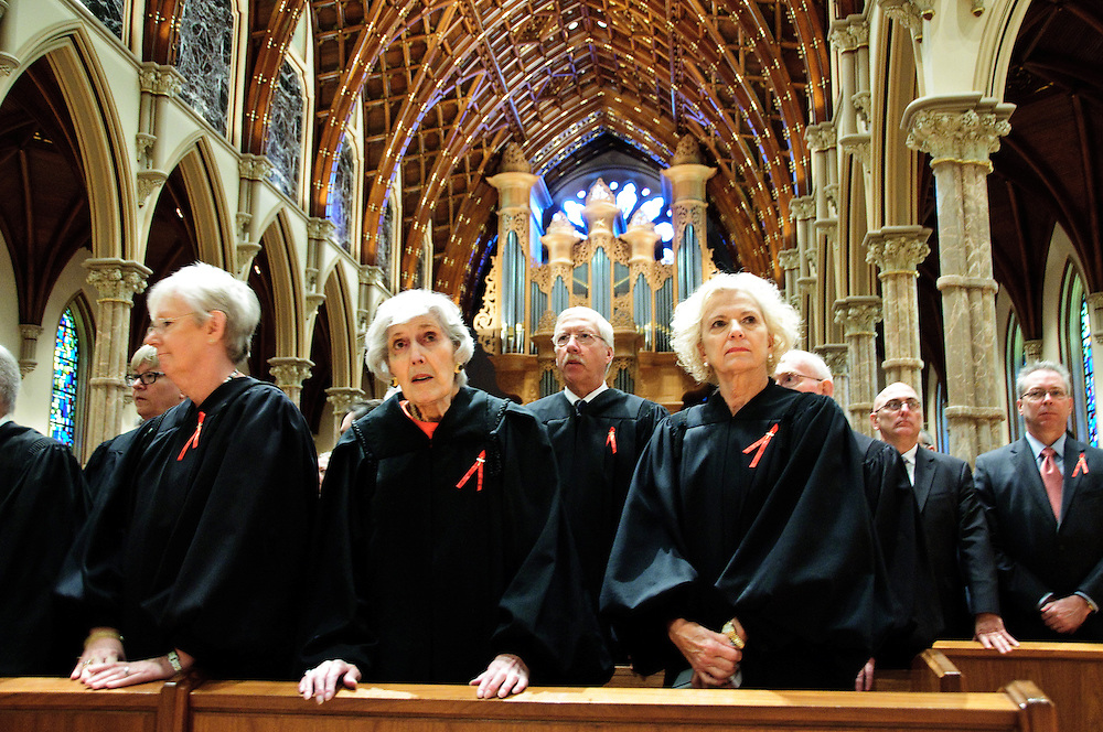 """Illinois Supreme Court Justices (L to R) Mary Jane Theis, Mary Ann G. McMorrow (retired) and Anne M. Burke attend the 78th Annual Votive Mass of the Holy Spirit, or """"Red Mass"""" at Holy Name Cathedral in Chicago. September 30, 2012 l Brian J. Morowczynski~ViaPhotos..For use in a single edition of Catholic New World Publications, Archdiocese of Chicago. Further use and/or distribution may be negotiated separately. Contact ViaPhotos at 708-602-0449 or email brian@viaphotos.com."""